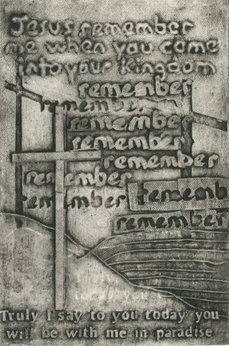 Last Words 2nd Word Collagraph in book